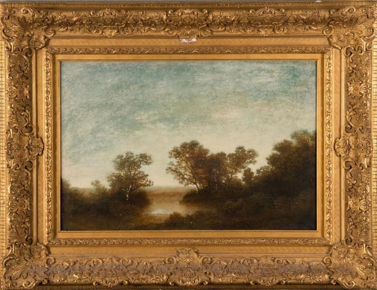RALPH ALBERT BLAKELOCK, (American, 1847-1919), ON THE RIVERBANK, oil on canvas, 16 x 24 in., frame: 26 1/2 x 34 1/2 in.