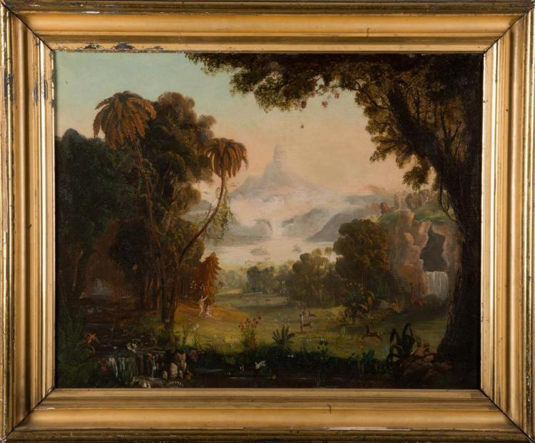 AMERICAN SCHOOL , (19th century), ADAM AND EVE, oil on canvas, 23 x 29 1/2 in., frame: 29 x 35 in.