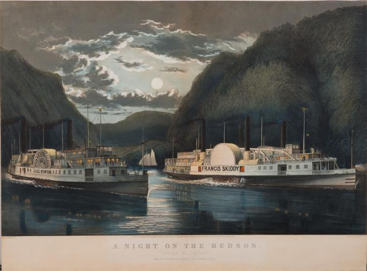 CURRIER & IVES , (American, 19th century), A NIGHT ON THE HUDSON, colored engraving, sight: 17 3/8 x 27 1/4 in., frame: 26 x 34 in.
