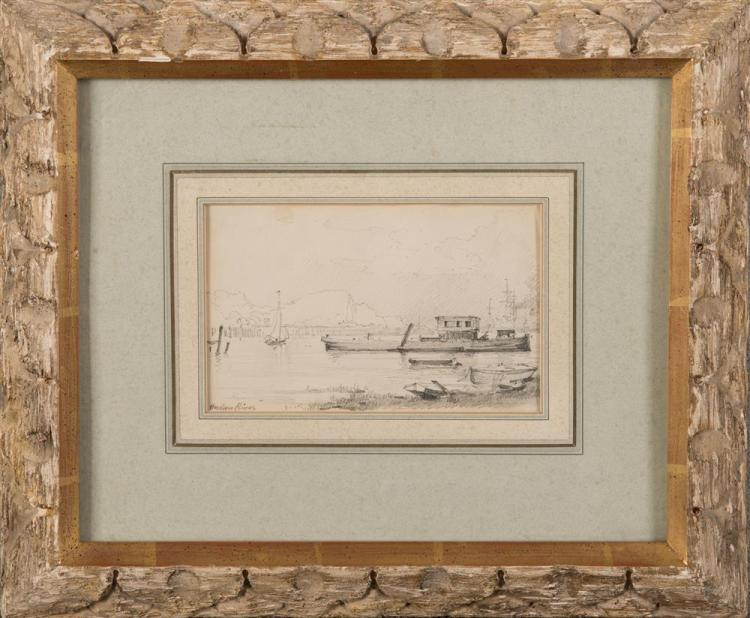 HERMAN HERZOG, (American, 1831-1932), HUDSON RIVER, pencil on paper, sight: 3 3/4 x 6 in., frame: 11 1/2 x 14 in.