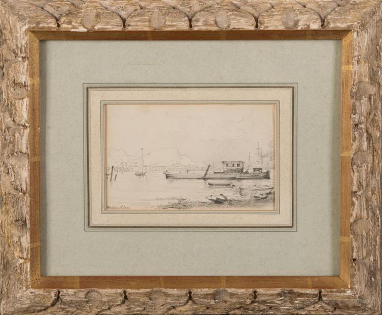 HERMAN HERZOG, (American, 1831-1932), HUDSON RIVER, pencil on paper, sight: 3 3/4 x 6 in., frame: 11 1/2 x 14 in.