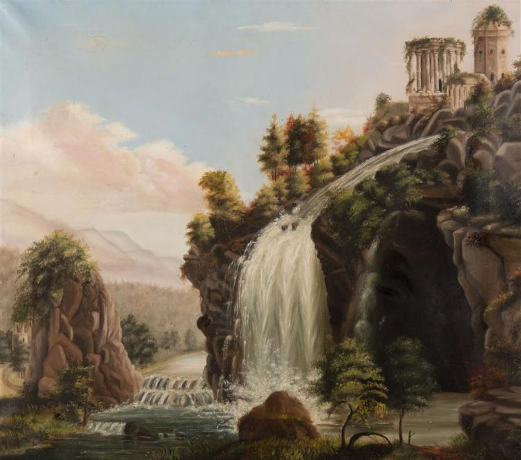 MANNER OF THOMAS CHAMBERS, (American, 1808-1866), WATERFALL AND RUINS, oil on canvas, 27 3/4 x 32 in., frame: 32 1/2 x 36 1/2 in.