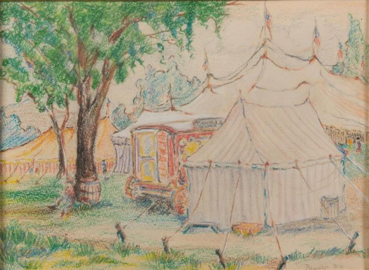 REYNOLDS BEAL, (American, 1866-1951), CIRCUS TENTS, colored pencil on paper, 8 1/2 x 11 1/2 in., frame: 19 x 22 in.