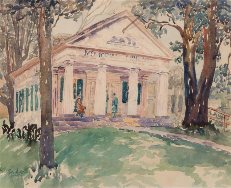 GEORGE LUKS, (American, 1867-1933), MEMORIAL LIBRARY, watercolor, sight: 15 1/2 x 19 in., frame: 24 x 27 1/2 in.