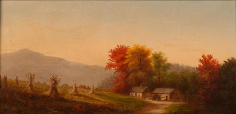 AMERICAN SCHOOL , (19th century), AUTUMN HOMESTEAD, oil on canvas, 10 x 20 in., frame: 14 x 24 1/2 in.