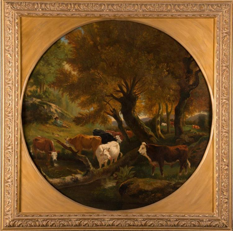 CONTINENTAL SCHOOL , (19th century), COWS UNDER THE TREES, oil on canvas, 26 1/2 x 26 1/2 in., frame: 32 1/2 x 32 1/2 in.