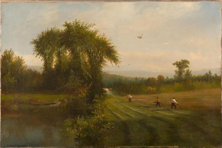 SAMUEL W. GRIGGS, (American, 1827-1898), HAYING ALONG THE RIVER, oil on canvas, 1869, 20 x 30 in.