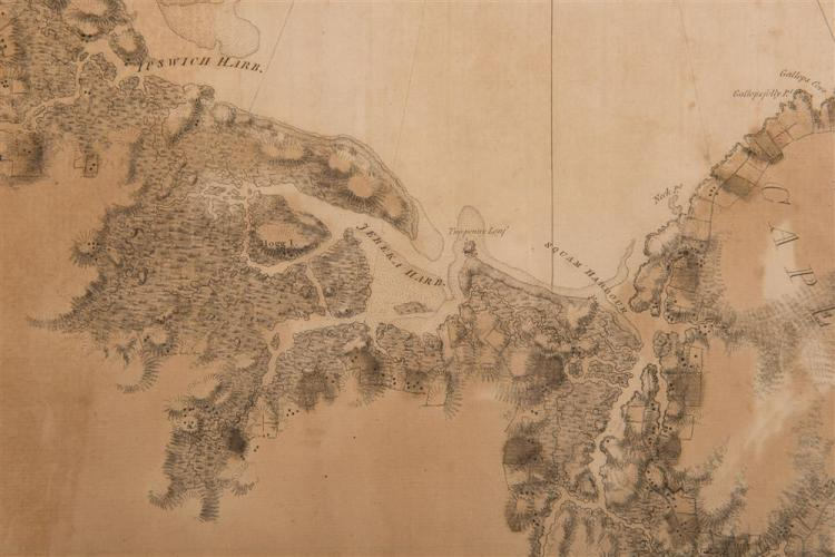 JOSEPH F. W. DES BARRES, (French, 1721-1824), CAPE ANN AND IPSWICH BAY, 1781, engraving, plate: 42 x 29 1/2 in. (across two sheets), frame: 47 x 34 in.