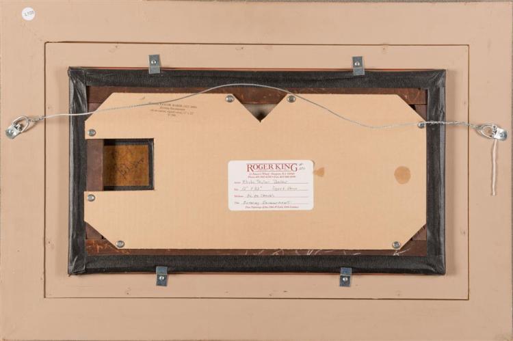 ELISHA TAYLOR BAKER, (American, 1827-1890), EVENING ENCAMPMENT, oil on canvas, 12 x 22 in., frame: 20 1/4 x 30 in.