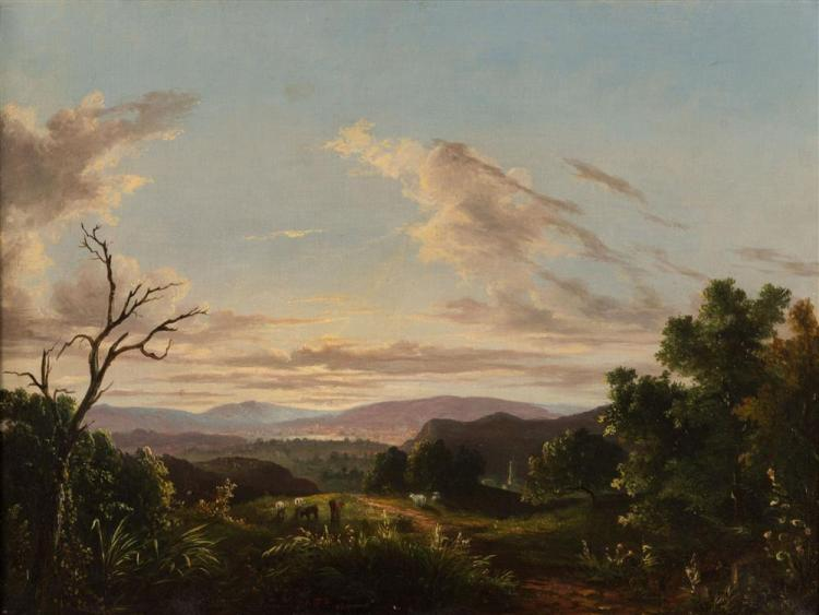 ABIGAIL TYLER OAKES, (American, 1823-ca. 1898), ACROSS THE VALLEY, 1854, oil on canvas, 17 3/4 x 24 in., frame: 22 1/2 x 28 1/2 in.