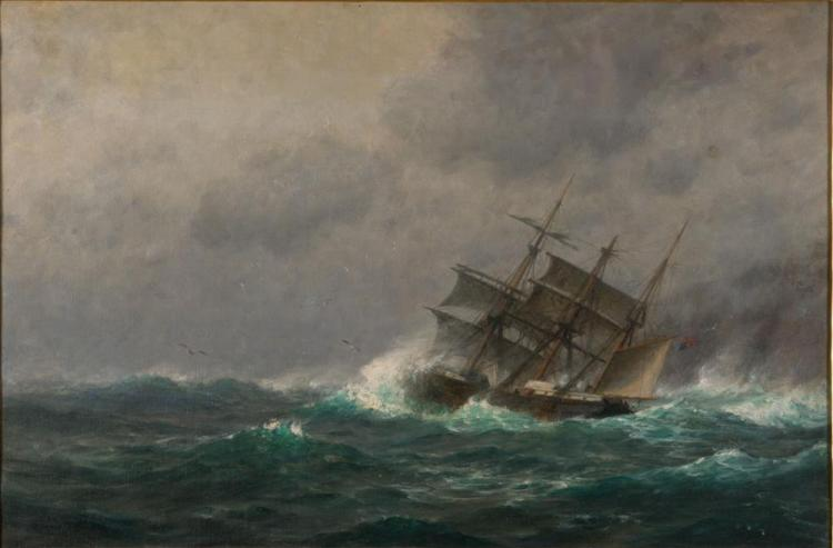 WILLIAM EDWARD NORTON, (American, 1843-1916), SHIP IN STORMY WATERS, oil on canvas, 20 x 30 in., frame: 29 x 39 in.