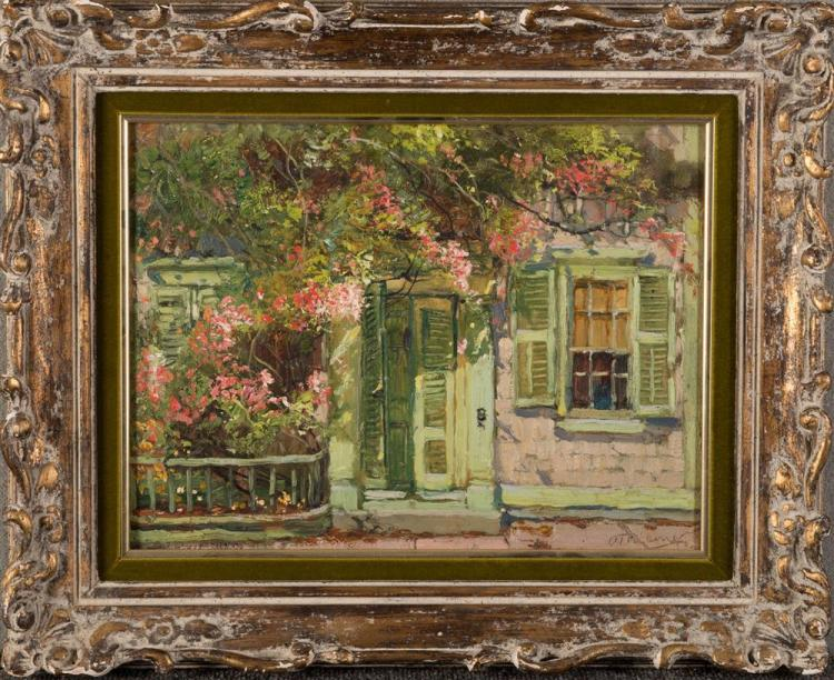 ANTHONY THIEME, (American, 1888-1954), THE GREEN DOOR, oil on canvasboard, 12 x 16 in., frame: 18 x 22 in.