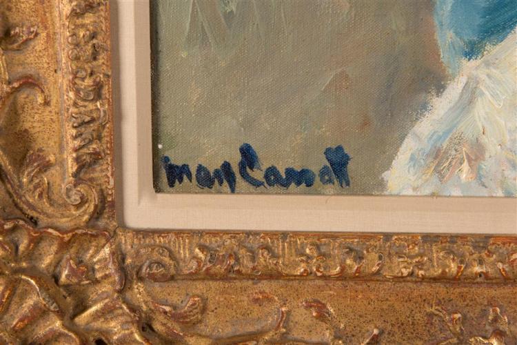 MARY STEVENSON CASSATT, (American, 1844-1926), AUGUSTA WITH HER FOREFINGER ON HER CHEEK, 1910, oil on canvas, 26 3/4 x 22 3/8 in., frame: 37 x 34 in.