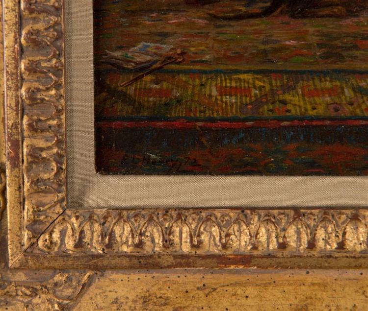 EDWARD LAMSON HENRY, (American, 1841-1919), DINNER TIME, 1872, oil on panel, 11 1/2 x 9 in., frame: 16 x 13 in.