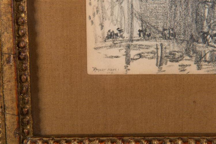 ROBERT HENRI, (American, 1865-1929), DUTCH HARBOR SCENE, pencil on paper, 5 x 6 3/4 in., frame: 11 x 12 in.