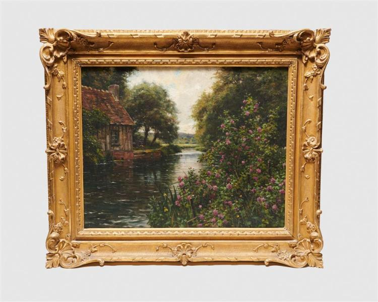 LOUIS ASTON KNIGHT, (American, 1873-1948), By the River, oil on canvas, 31 1/2 x 25 in.; frame: 36 x 43 in.