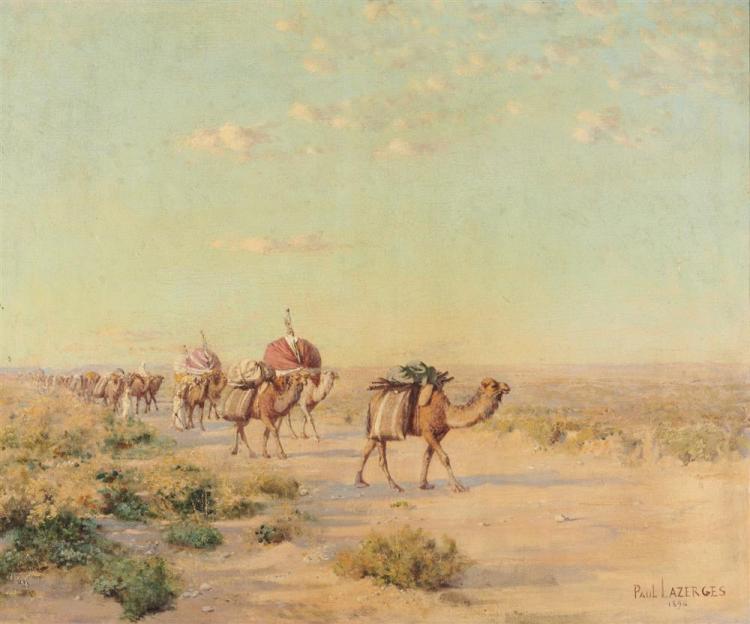PAUL JEAN BAPTISTE LAZERGES, (French, 1845-1902), Caravan, 1896, oil on canvas, 20 x 24 in.