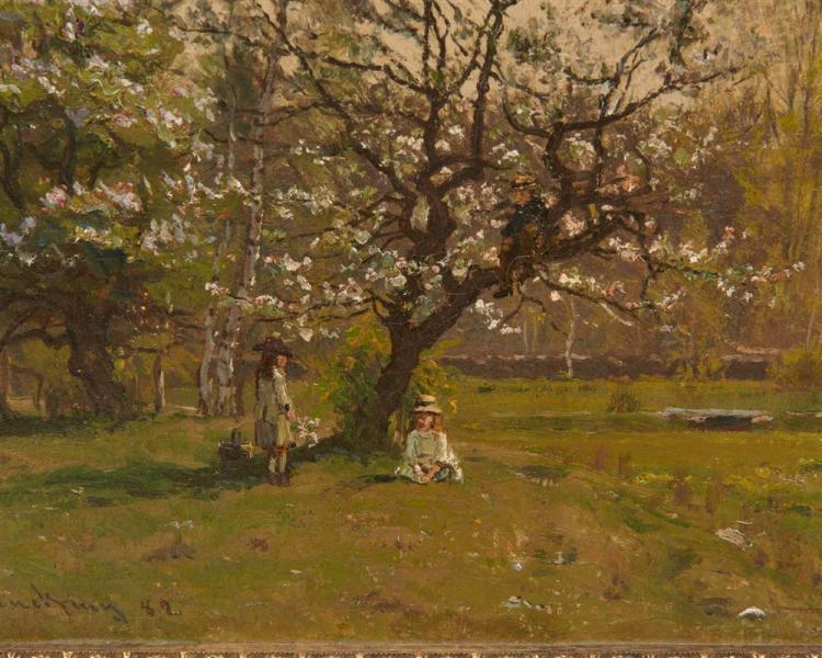 JOHN JOSEPH ENNEKING, (American, 1841-1916), Under the Apple Tree, 1882, oil on canvas, 12 1/4 x 18 1/2 in., frame: 20 1/2 x 25 1/2 in.