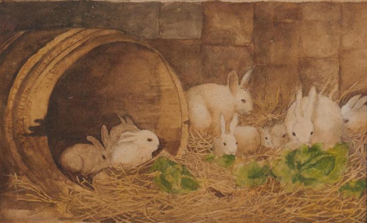 ARTHUR FITZWILLIAM TAIT, (American, 1819-1905), Rabbits, 1886, watercolor, sight: 5 x 8 1/2 in., frame: 11 x 14 in.