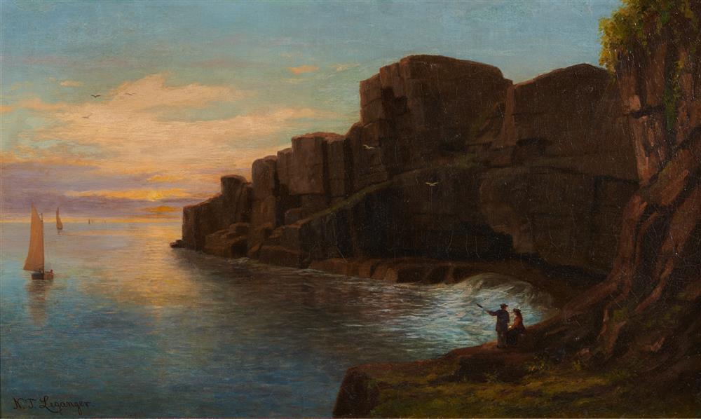 NIKOLAY TYSLAND LEGANGER, (American, 1832-1905), Grand Manan, South Head, oil on canvas, 18 x 30 in., frame: 25 x 38 in.