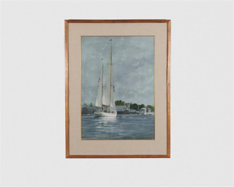 RAY ELLIS, (American, 1921-2013), Heading Out, Martha's Vineyard, 1985, watercolor, 34 1/2 x 24 in., frame: 46 x 35 in.