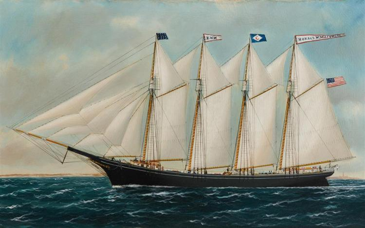 """WILLIAM PIERCE STUBBS, (American, 1842-1909), Four Masted Schooner """"Horace W. Macomber"""", oil on canvas, 26 x 42 in., frame: 31 1/2 x 47 1/2 in."""
