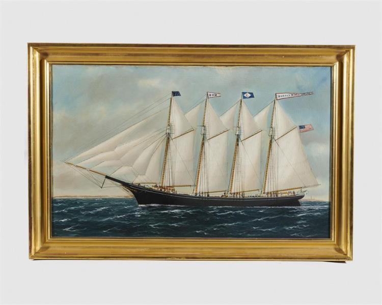 WILLIAM PIERCE STUBBS, (American, 1842-1909), Four Masted Schooner