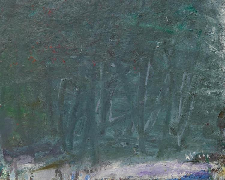 WOLF KAHN, (American, b. 1927), Three Trees, 1964-5, oil on canvas, 29 1/2 x 55 in., frame: 30 1/2 x 56 in.