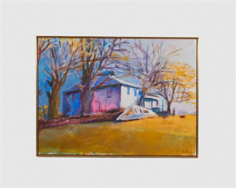 WOLF KAHN, (American, b. 1927), Deserted Farm House, Marlboro, VT, 1976, oil on canvas, 28 x 38 in., frame: 29 x 39 in.
