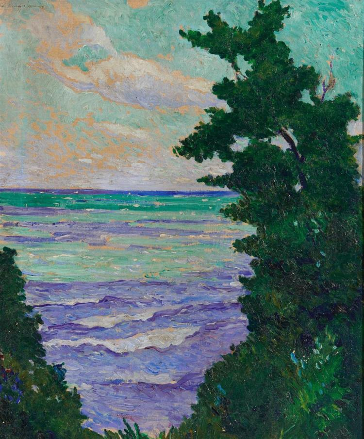 WILLIAM SOMMER, (American, 1842-1909), Lake Erie, 1911, oil on canvas board, 24 x 20 in., frame: 32 x 28 in.