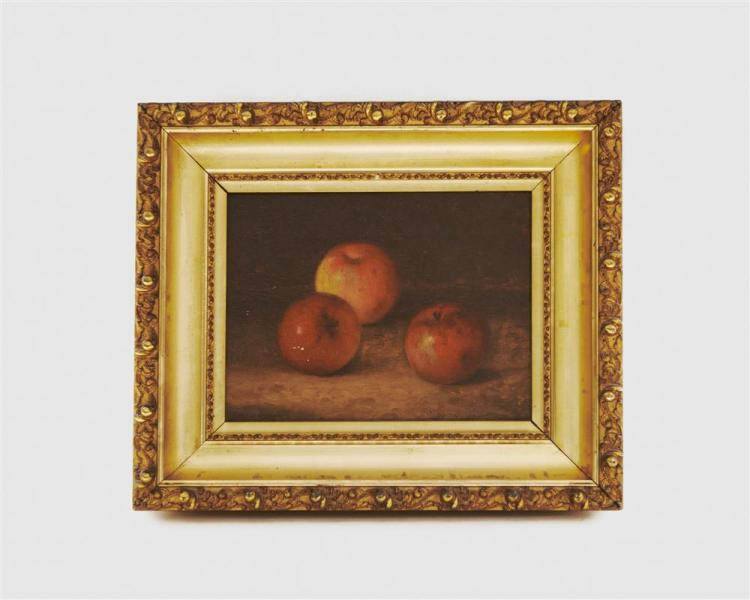 BRYANT CHAPIN, (American, 1859-1927), Still Life with Three Apples, 1910, oil on canvas, 9 x 12 in., frame: 15 x 18 in.
