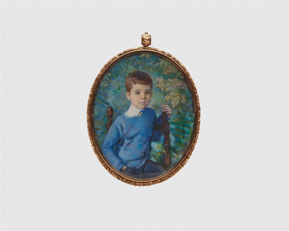LAURA COOMBS HILLS, (American, 1859-1952), Portrait Miniature of William Bristow Gannett, 1930, watercolor, sight: 4 7/8 x 3 1/8 in.