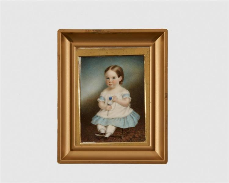 SARAH GOODRIDGE, (American, 1788-1853), George Albert Hunnewell as a Child Seated and Holding a Toy, 1844, gouache, 3 1/2 x 2 5/8 in.