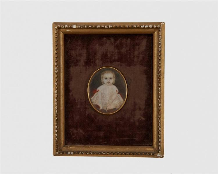AMERICAN SCHOOL, (19th century), Two Oval Portrait Miniatures, gouache, heights: 2 1/8 in.