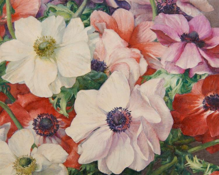FLORENCE JULIA BACH, (American, 1887-1978), Anemonies, 1946, oil on board, 30 x 25 in., frame: 39 x 24 in.