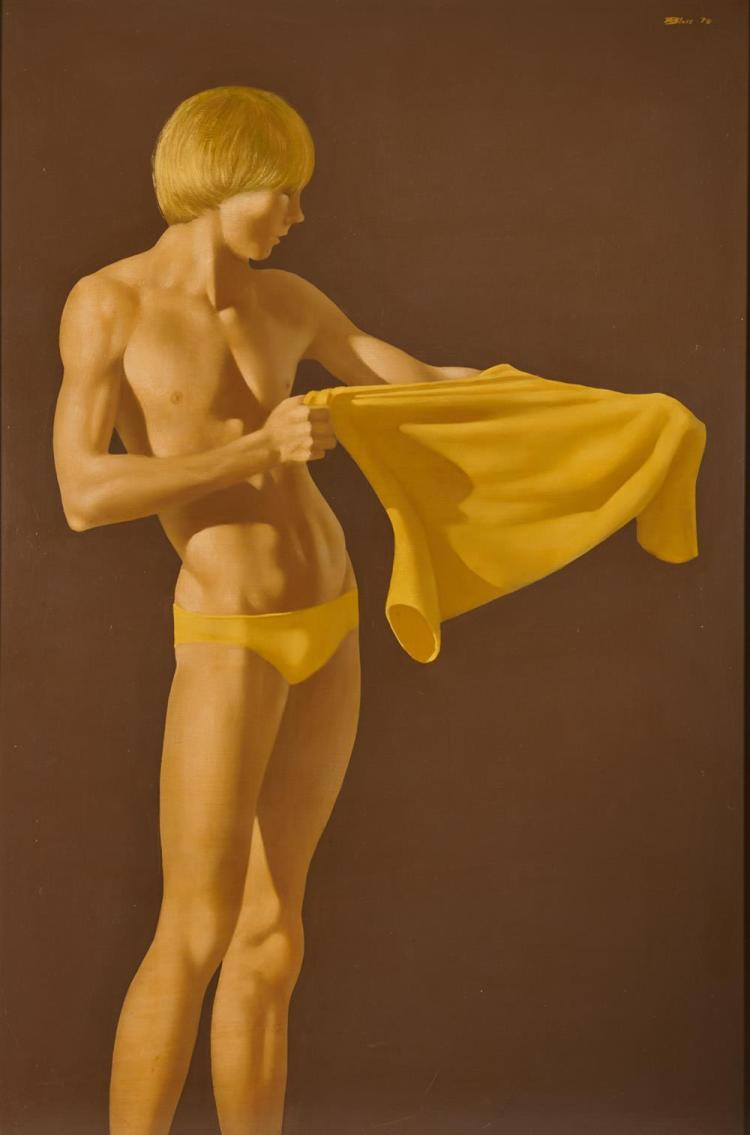 ROBERT BLISS, (American, 1925-1981), Standing Boy with Yellow Shirt, 1970, oil on Masonite, 48 x 32 in., frame: 49 x 33 in.