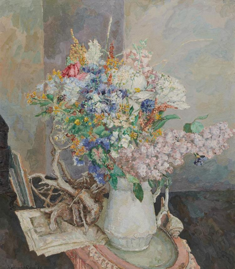 HERMAN ROSE, (American, 1909-2007), Floral Still Life, 1956, oil on canvas, 31 x 28 in., frame: 37 1/2 x 34 in.