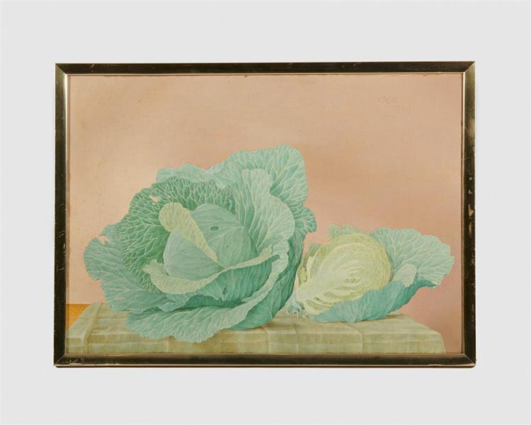 JOHN HENRY WILDE, (American, 1919-2006), Still Life with Cabbages, 1960, oil on board, 16 x 22 1/2 in., frame: 17 1/2 x 24 in.
