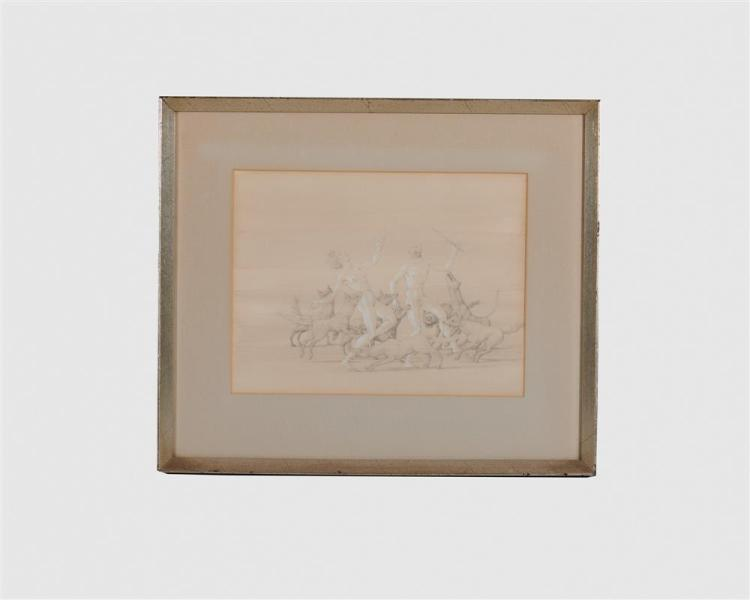 JOHN HENRY WILDE, (American, 1919-2006), Drawing (For Nighttime Festivities at the Contessa Sanseverini's), 1966, pencil, sight: 7 3/4 x 10 1/4 in., frame: 13 x 15 1/2 in.