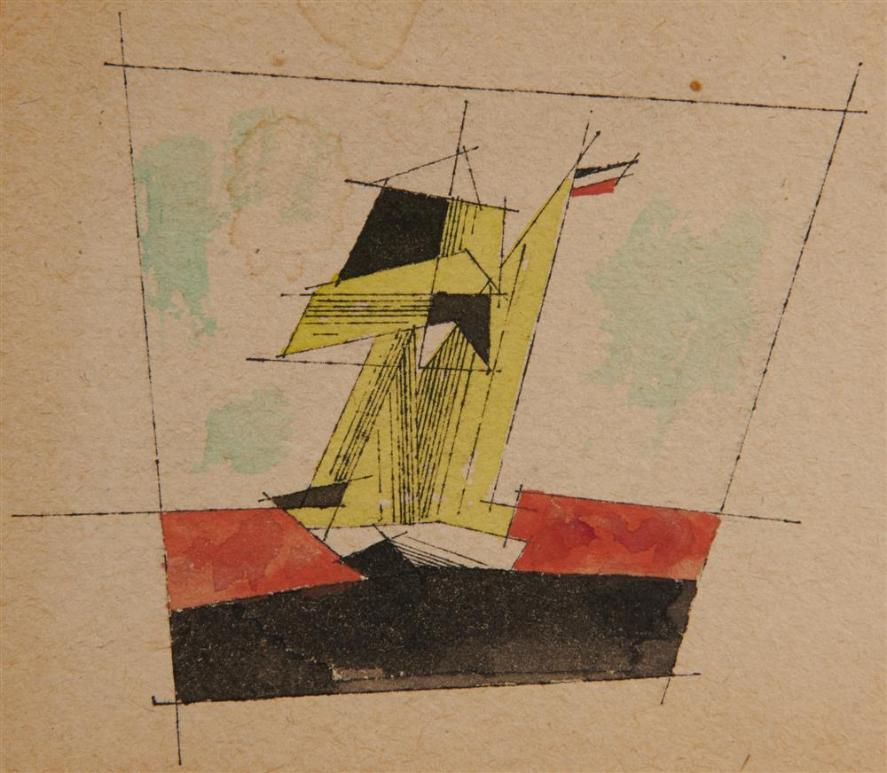 LYONEL FEININGER, (American/German, 1871-1956), Untitled (Ship), ink and watercolor, 3 5/8 x 7 1/8 in.