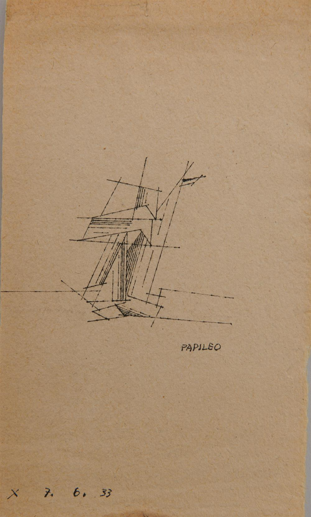 LYONEL FEININGER, (American/German, 1871-1956), Untitled (Sailboat), 1933, pen and ink, 6 1/4 x 3 3/4 in.