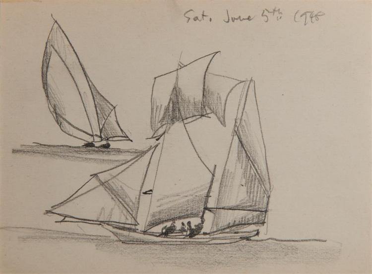 LYONEL FEININGER, (American/German, 1871-1956), Untitled (Sailboats), 1948, pencil, 5 1/4 x 7 in.