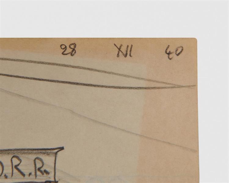 LYONEL FEININGER, (American/German, 1871-1956), Untitled (Train), pencil, 5 x 8 in.