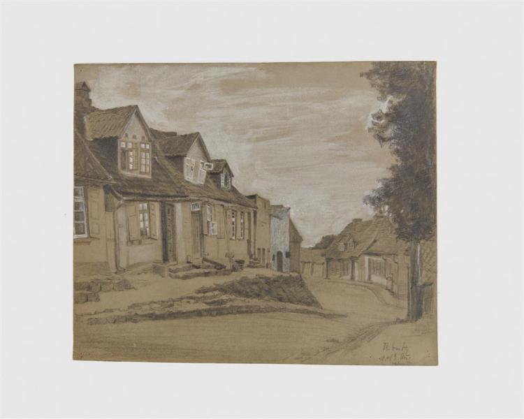 LYONEL FEININGER, (American/German, 1871-1956), Untitled (Ribnitz Street), pencil and charcoal heightened with white, 9 7/8 x 12 1/4 in.