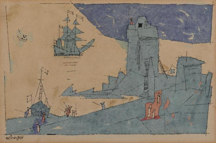 LYONEL FEININGER, (American/German, 1871-1956), The Watch Tower, 1947, watercolor and ink, 6 1/4 x 9 7/8 in.; frame: 10 3/4 x 14 1/4 in.