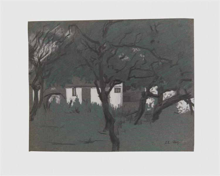 LYONEL FEININGER, (American/German, 1871-1956), Untitled (White House in the Forest), pencil and colored pencil heightened with white, 9 7/8 x 12 1/4 in.