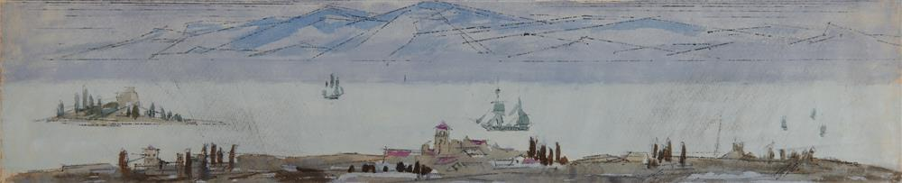 LYONEL FEININGER, (American/German, 1871-1956), Untitled (Marine View), 1949, watercolor and ink, 5 1/8 x 24 in.