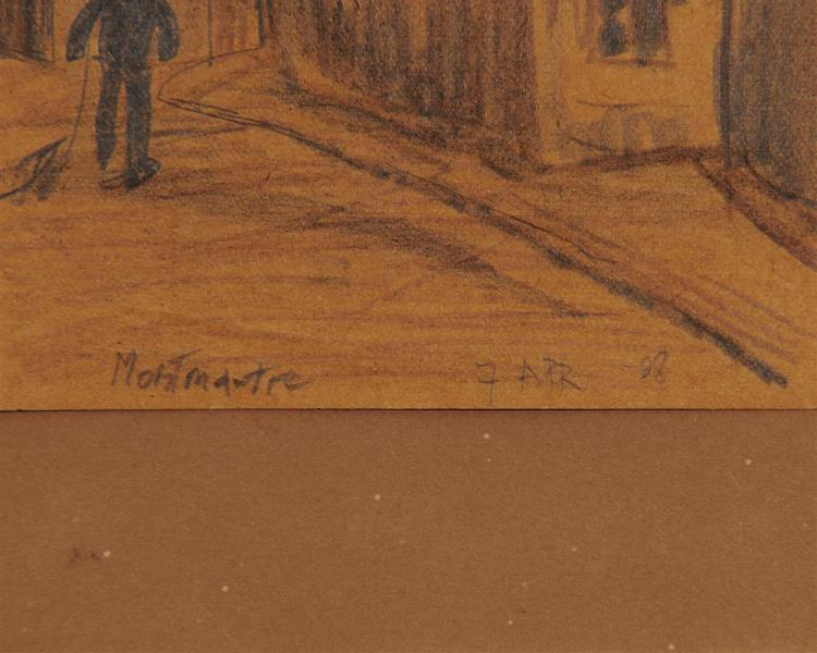 LYONEL FEININGER, (American/German, 1871-1956), Untitled (Montmartre), 1908, pencil and colored pencil, 6 x 3 7/8 in.