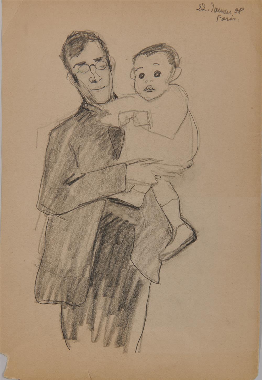 LYONEL FEININGER, (American/German, 1871-1956), Untitled (Self Portrait), 1908, pencil, 12 5/8 x 8 1/2 in.