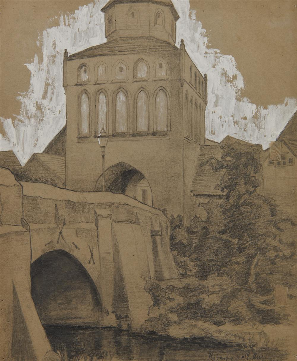 LYONEL FEININGER, (American/German, 1871-1956), Untitled (Ribnitz Town Gate), pencil heightened with white, 13 1/2 x 10 7/8 in.